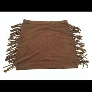 Brown Faux Suede Fringe Mini Skirt Boho Gypsy